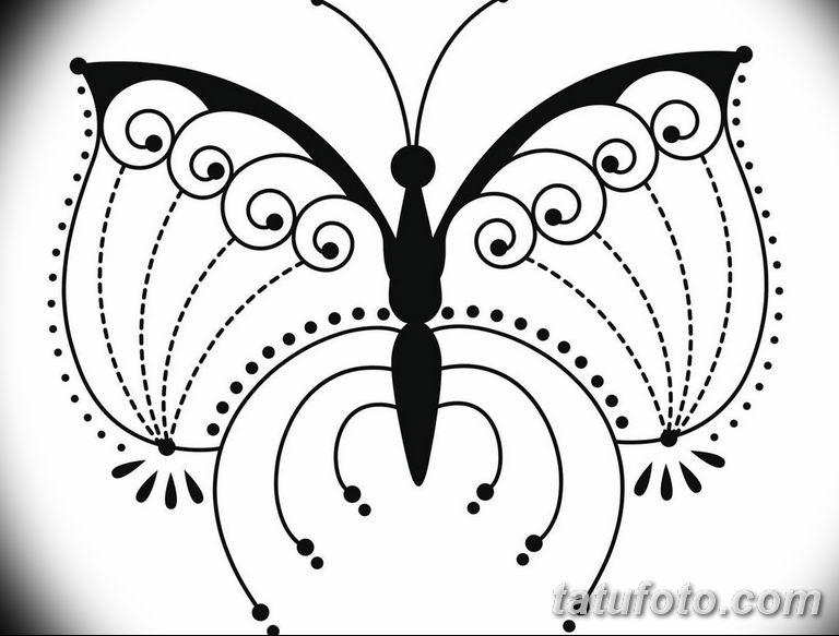 черно белый эскиз тату рисункок бабочка 11.03.2019 №081 - tattoo sketch - tatufoto.com