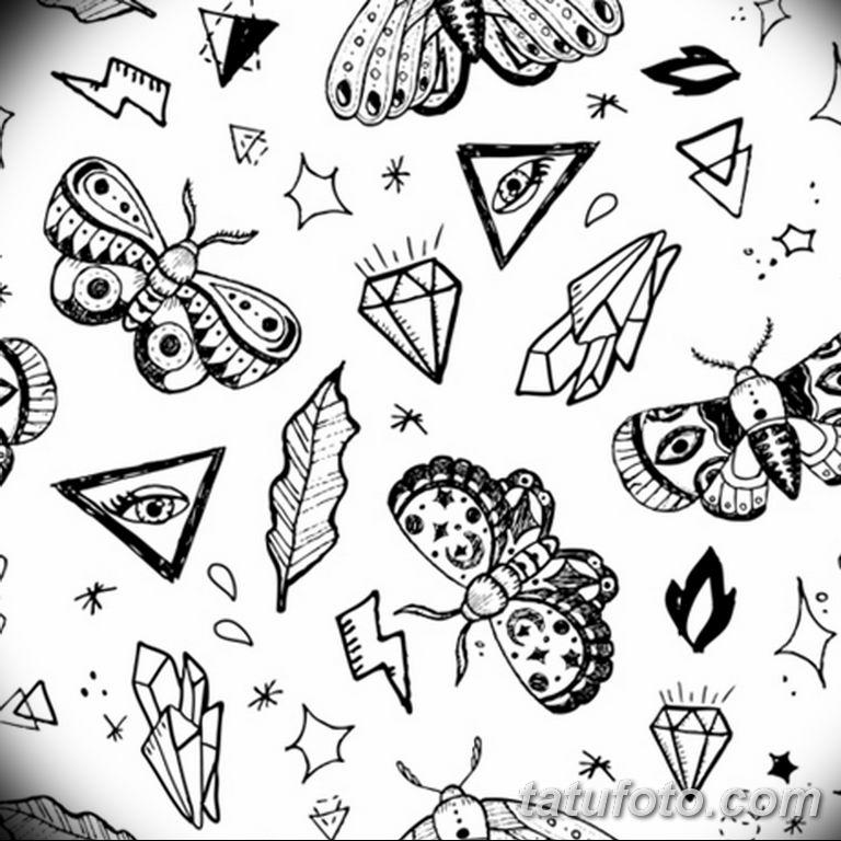 черно белый эскиз тату рисункок бабочка 11.03.2019 №089 - tattoo sketch - tatufoto.com