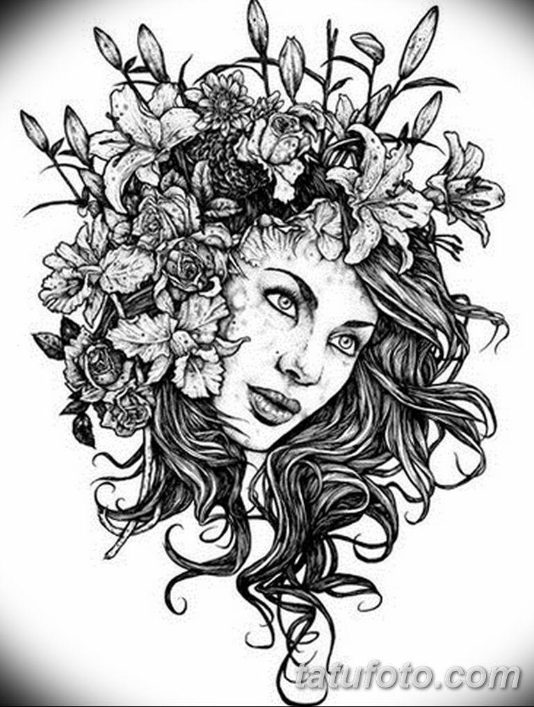 черно белый эскиз тату рисункок вариант 11.03.2019 №004 - tattoo sketch - tatufoto.com