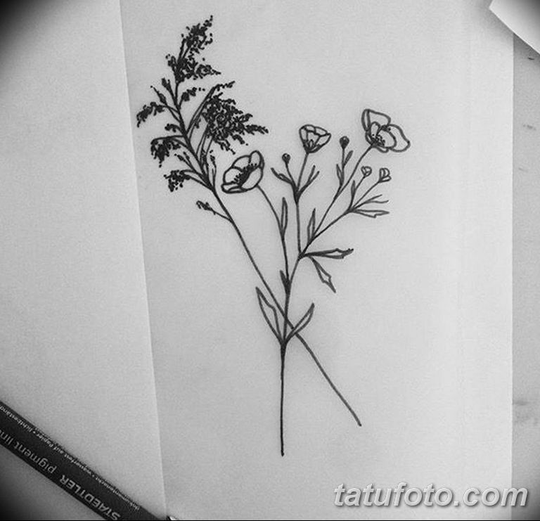 черно белый эскиз тату рисункок веточки 11.03.2019 №003 - tattoo sketch - tatufoto.com