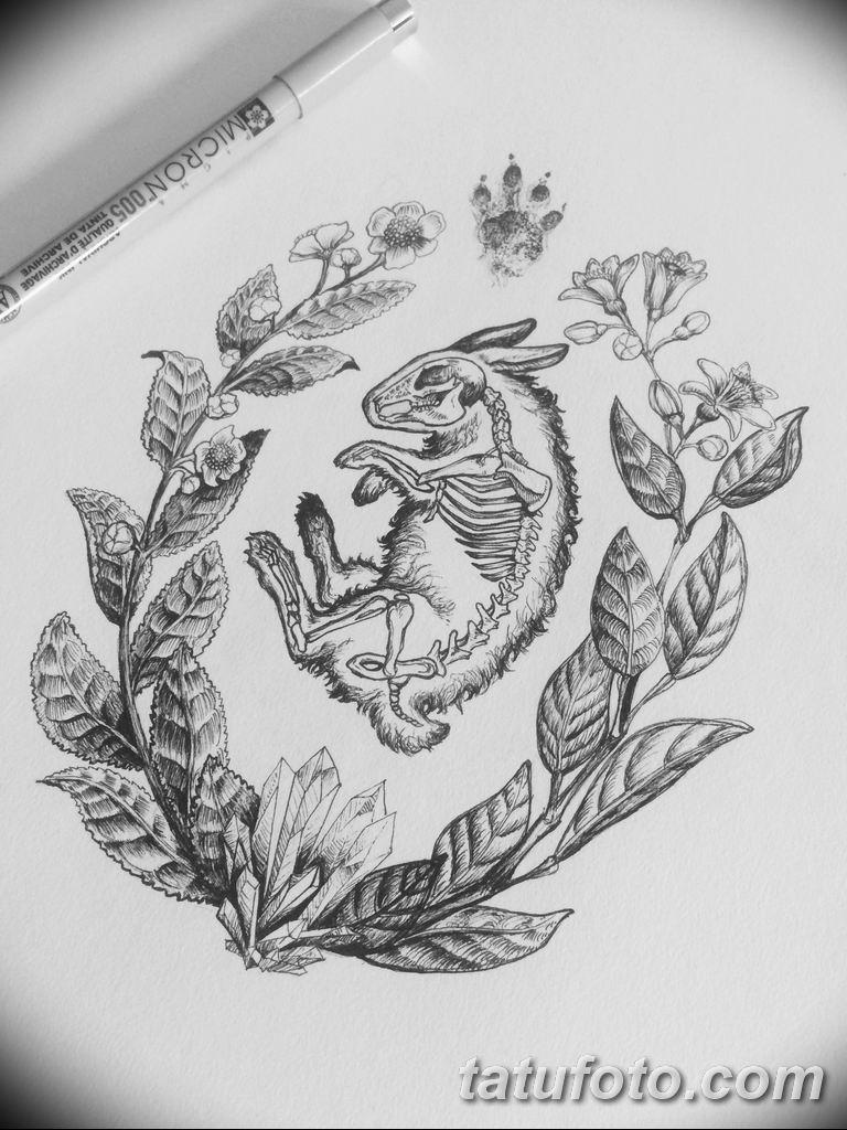 черно белый эскиз тату рисункок веточки 11.03.2019 №015 - tattoo sketch - tatufoto.com