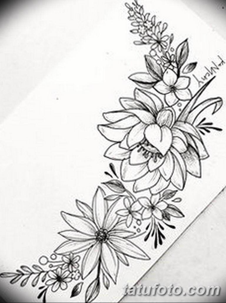 черно белый эскиз тату рисункок веточки 11.03.2019 №018 - tattoo sketch - tatufoto.com