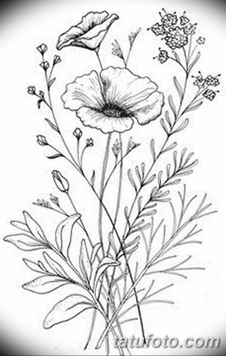 черно белый эскиз тату рисункок веточки 11.03.2019 №027 - tattoo sketch - tatufoto.com