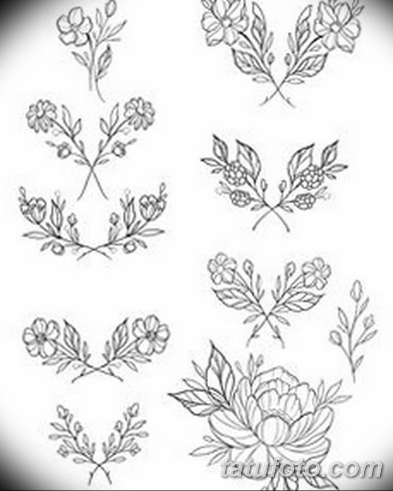 черно белый эскиз тату рисункок веточки 11.03.2019 №034 - tattoo sketch - tatufoto.com