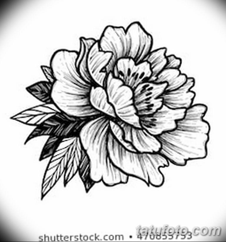 Черно белый эскиз тату с цветами: черно белый эскиз тату рисункок пионы 11.03.2019 №073