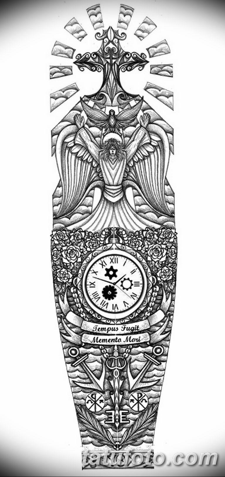 Черно белый эскиз тату с цветами: черно белый эскиз тату рукав на руку 11.03.2019 №031