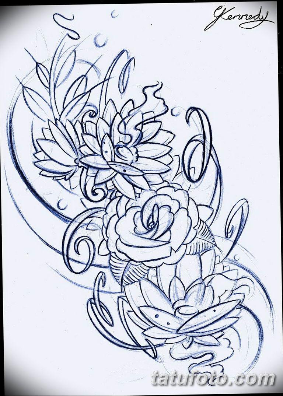 Черно белый эскиз тату с цветами: черно белый эскиз тату рукав на руку 11.03.2019 №049