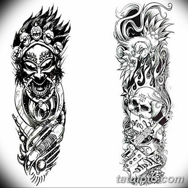 Черно белый эскиз тату с цветами: черно белый эскиз тату рукав на руку 11.03.2019 №058