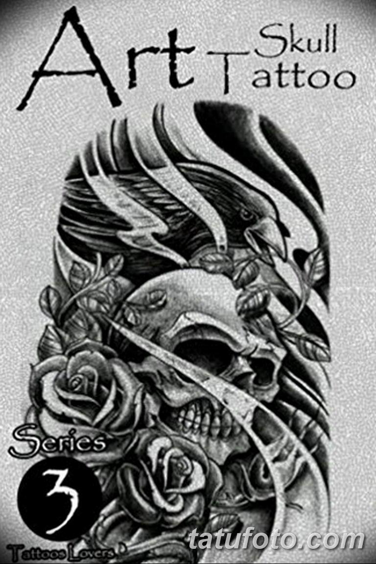 Черно белый эскиз тату с цветами: черно белый эскиз тату с черепом 11.03.2019 №026