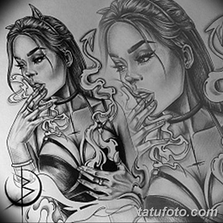 чикано тату эскизы девушки 08.03.2019 №008 - tattoo sketches - tatufoto.com