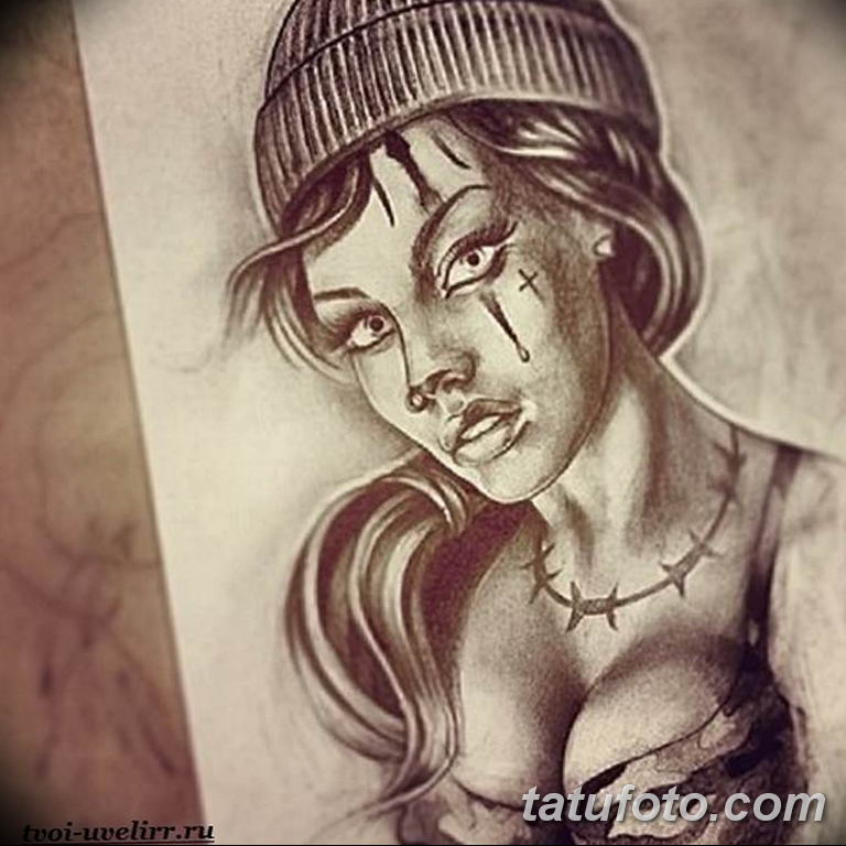 чикано тату эскизы девушки 08.03.2019 №011 - tattoo sketches - tatufoto.com