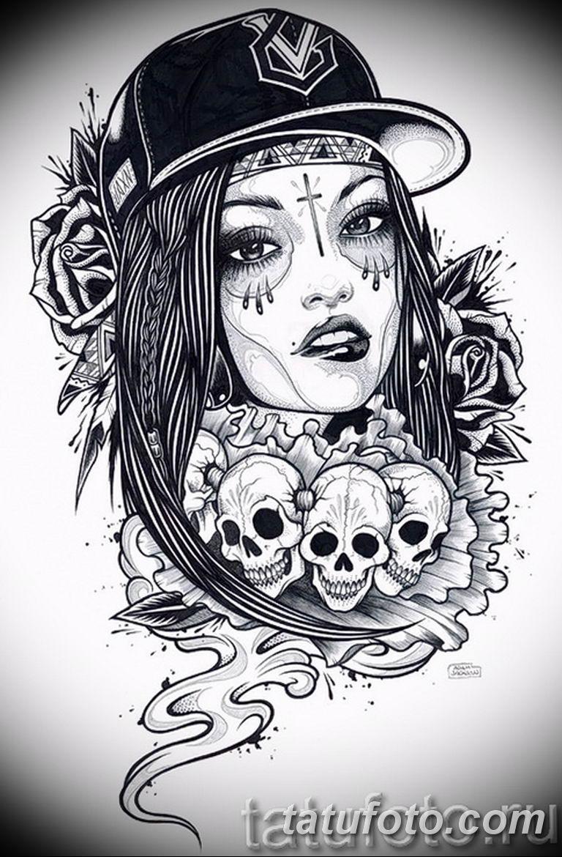 чикано тату эскизы девушки 08.03.2019 №012 - tattoo sketches - tatufoto.com