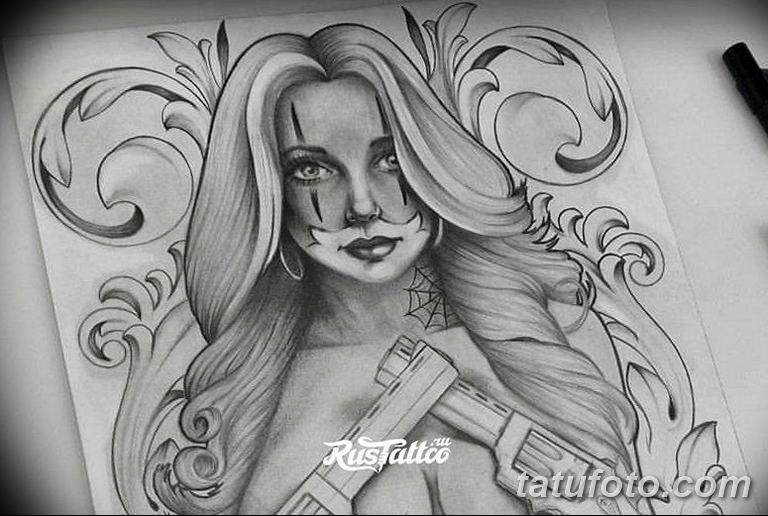 чикано тату эскизы девушки 08.03.2019 №043 - tattoo sketches - tatufoto.com