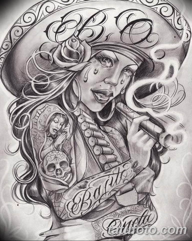 чикано тату эскизы девушки 08.03.2019 №044 - tattoo sketches - tatufoto.com