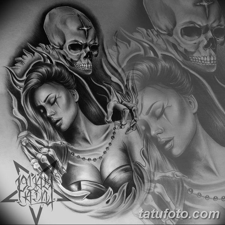 чикано тату эскизы девушки 08.03.2019 №050 - tattoo sketches - tatufoto.com