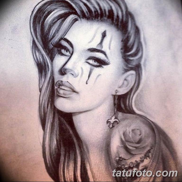 чикано тату эскизы девушки 08.03.2019 №058 - tattoo sketches - tatufoto.com