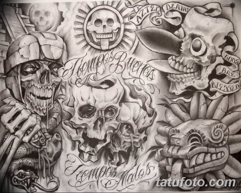 чикано тату эскизы девушки 08.03.2019 №060 - tattoo sketches - tatufoto.com