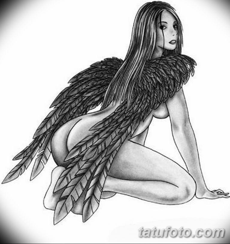 эскизы тату девушек ангелов 08.03.2019 №005 - tattoo sketches - tatufoto.com