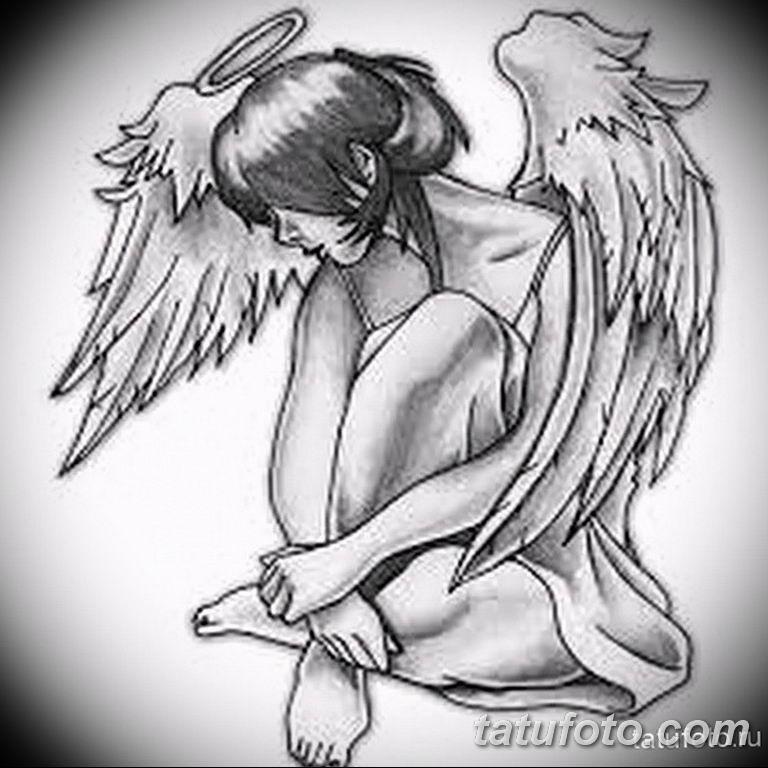эскизы тату девушек ангелов 08.03.2019 №009 - tattoo sketches - tatufoto.com