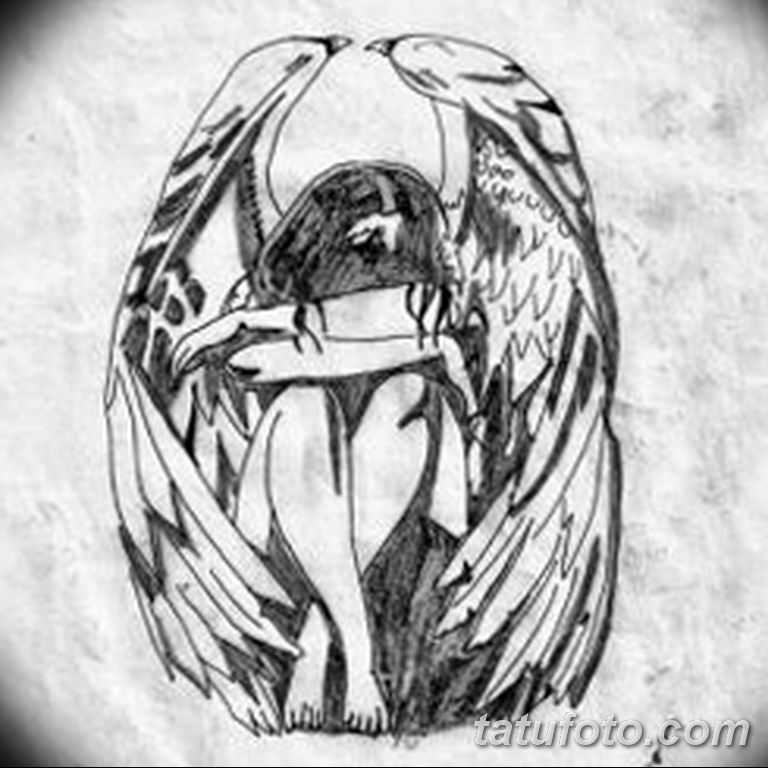 эскизы тату девушек ангелов 08.03.2019 №012 - tattoo sketches - tatufoto.com