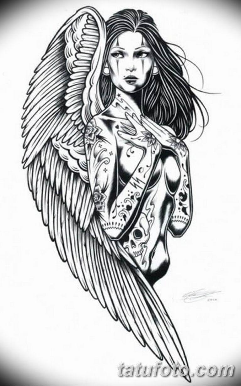 эскизы тату девушек ангелов 08.03.2019 №013 - tattoo sketches - tatufoto.com