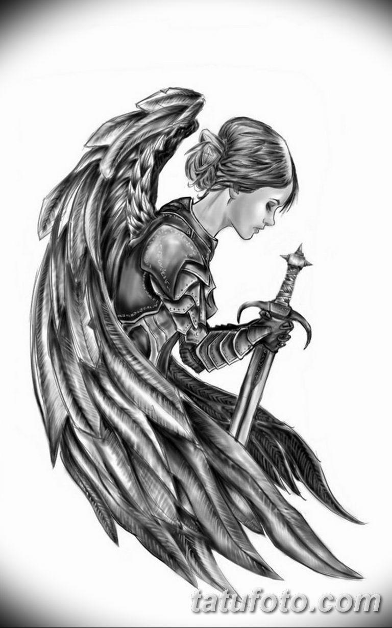 эскизы тату девушек ангелов 08.03.2019 №017 - tattoo sketches - tatufoto.com