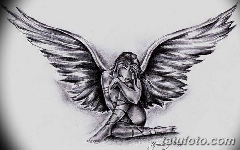 эскизы тату девушек ангелов 08.03.2019 №019 - tattoo sketches - tatufoto.com