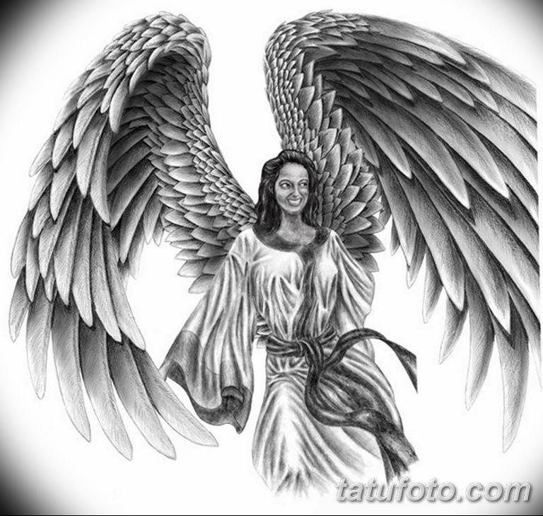 эскизы тату девушек ангелов 08.03.2019 №024 - tattoo sketches - tatufoto.com
