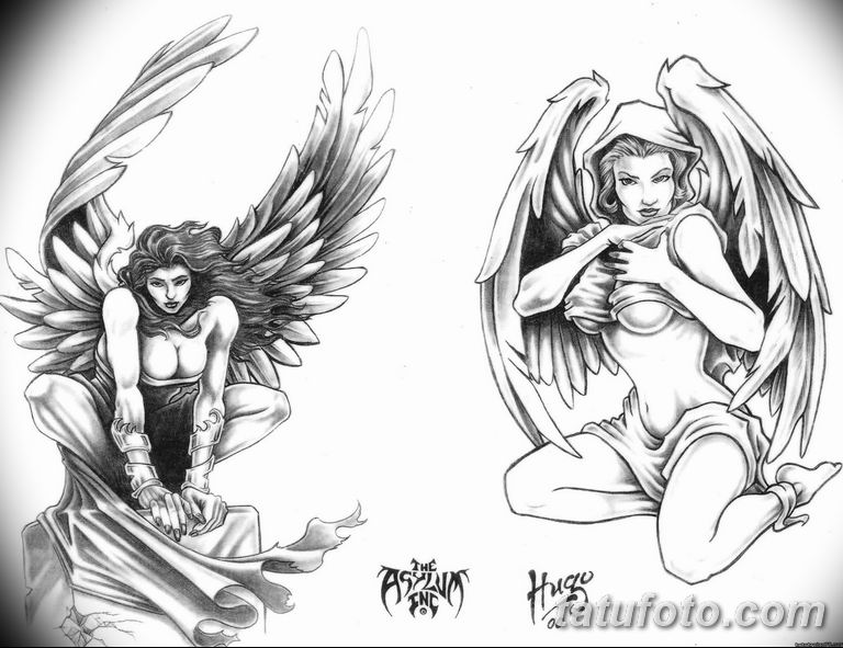 эскизы тату девушек ангелов 08.03.2019 №031 - tattoo sketches - tatufoto.com