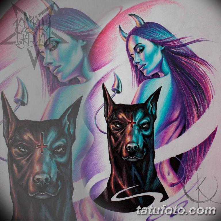 эскизы тату девушка демон 08.03.2019 №006 - tattoo sketches - tatufoto.com