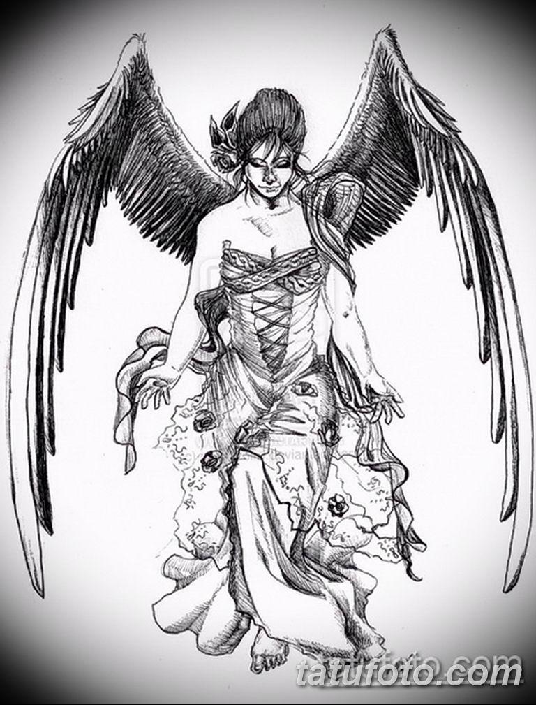 эскизы тату девушка демон 08.03.2019 №007 - tattoo sketches - tatufoto.com