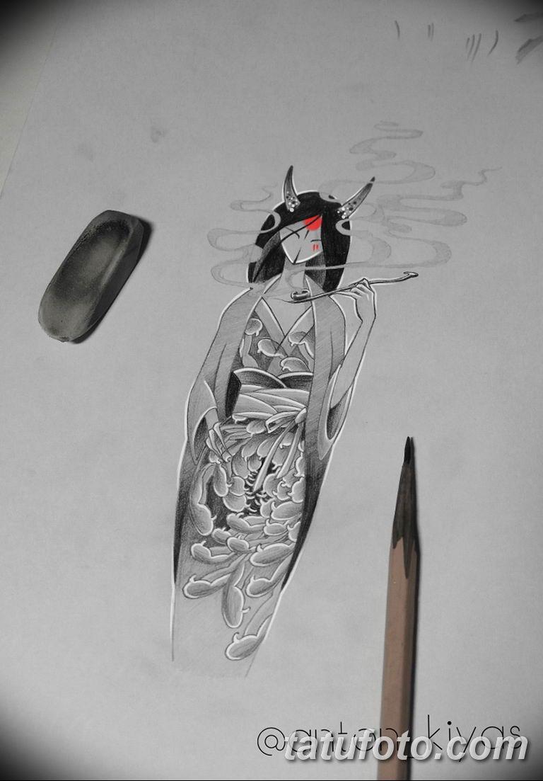эскизы тату девушка демон 08.03.2019 №010 - tattoo sketches - tatufoto.com