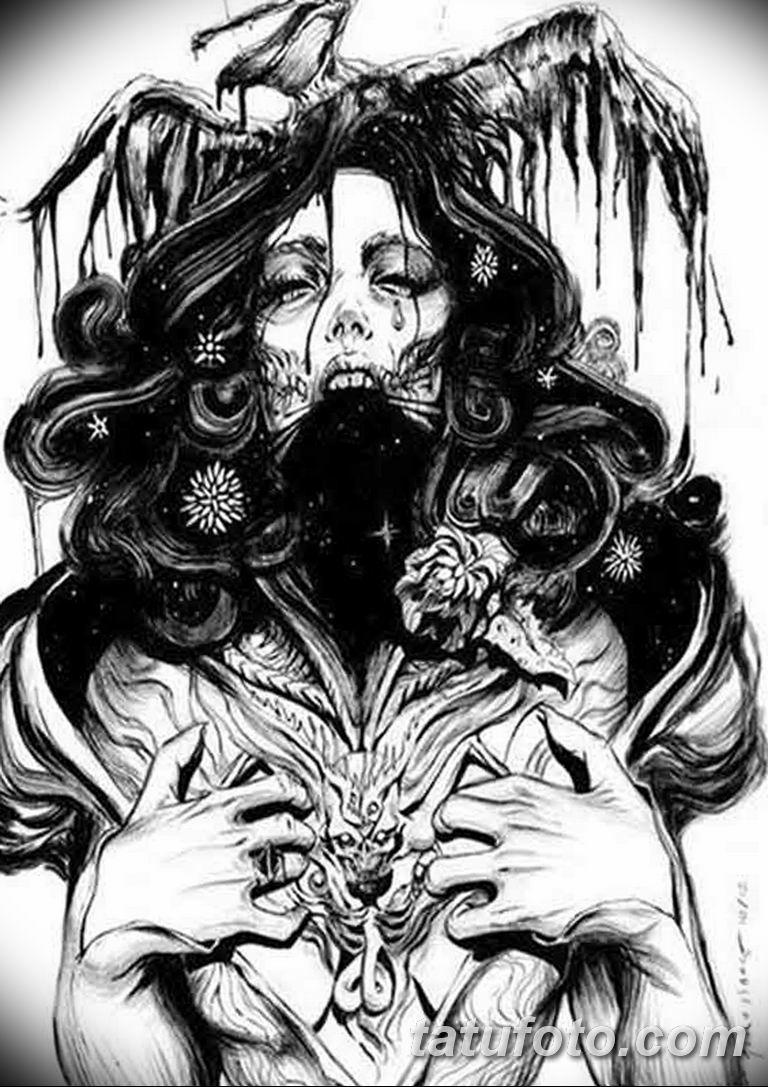 эскизы тату девушка демон 08.03.2019 №015 - tattoo sketches - tatufoto.com
