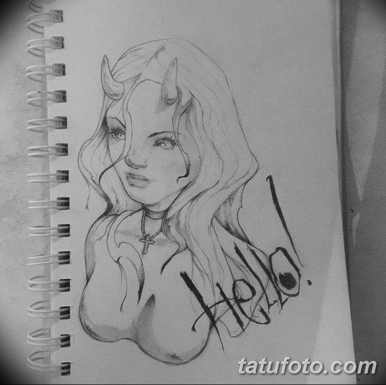 эскизы тату девушка демон 08.03.2019 №017 - tattoo sketches - tatufoto.com