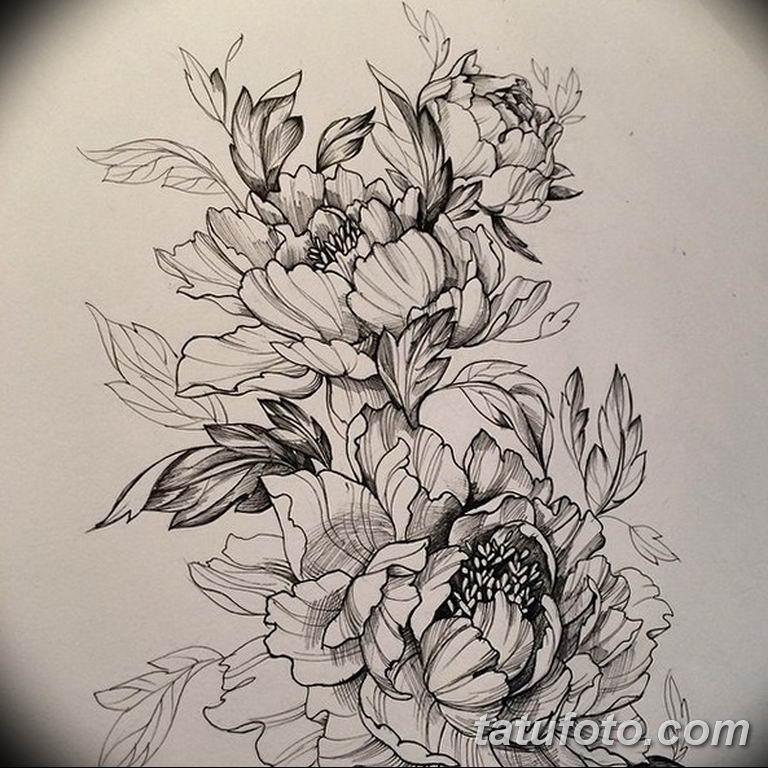 эскизы тату для девушек пионы 08.03.2019 №002 - tattoo sketches - tatufoto.com