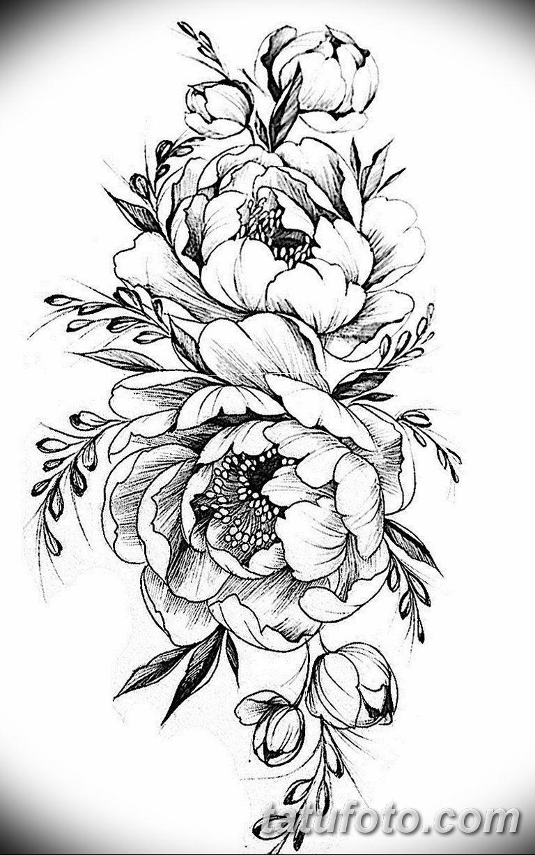 эскизы тату для девушек пионы 08.03.2019 №006 - tattoo sketches - tatufoto.com
