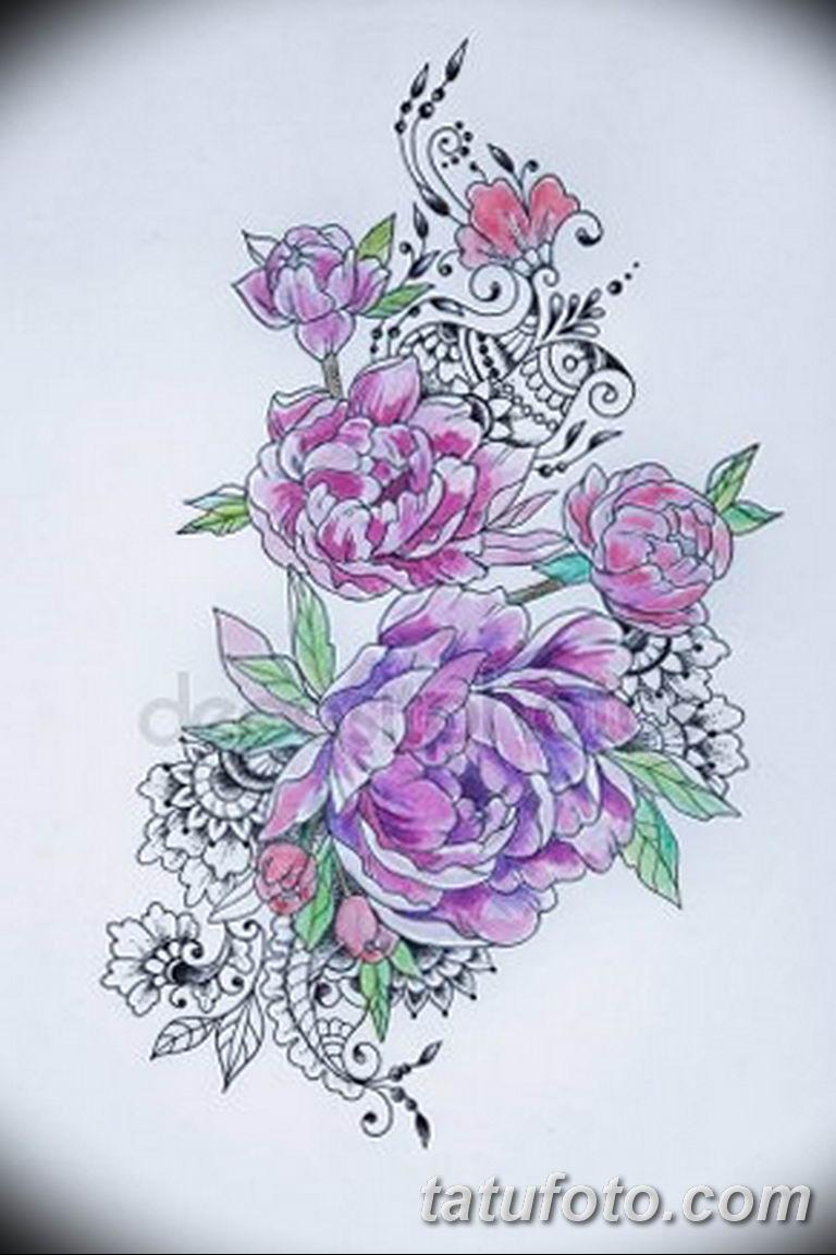 эскизы тату для девушек пионы 08.03.2019 №013 - tattoo sketches - tatufoto.com