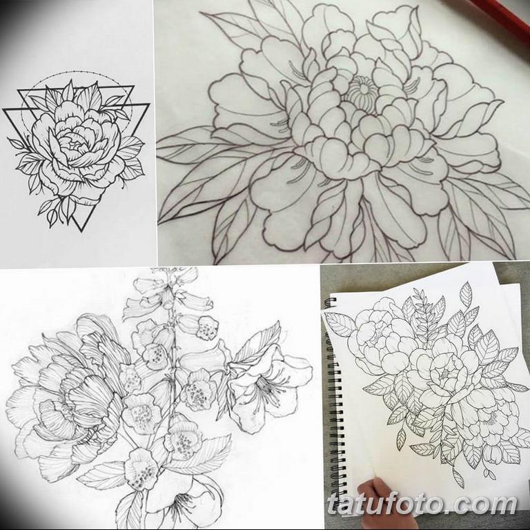 эскизы тату для девушек пионы 08.03.2019 №014 - tattoo sketches - tatufoto.com