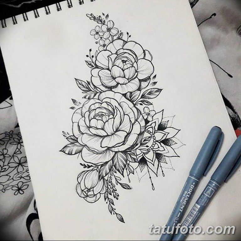эскизы тату для девушек пионы 08.03.2019 №015 - tattoo sketches - tatufoto.com