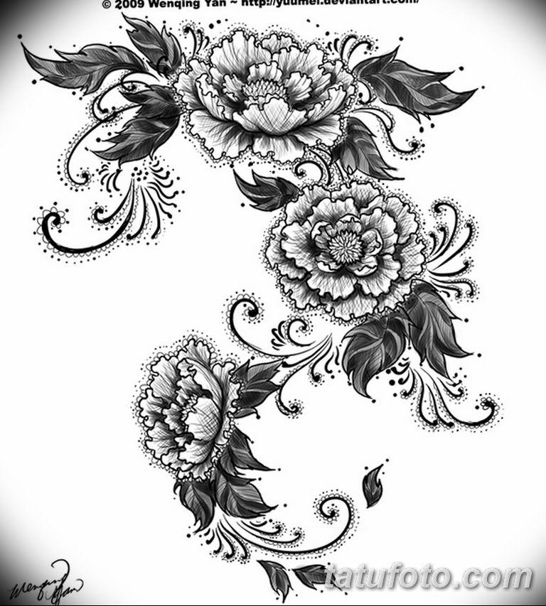 эскизы тату для девушек пионы 08.03.2019 №018 - tattoo sketches - tatufoto.com