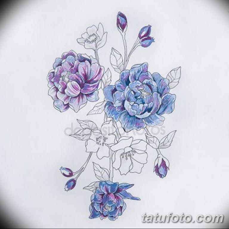эскизы тату для девушек пионы 08.03.2019 №022 - tattoo sketches - tatufoto.com