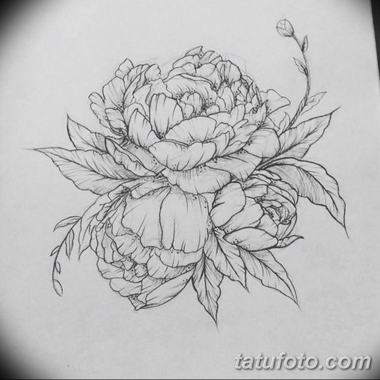 эскизы тату для девушек пионы 08.03.2019 №023 - tattoo sketches - tatufoto.com