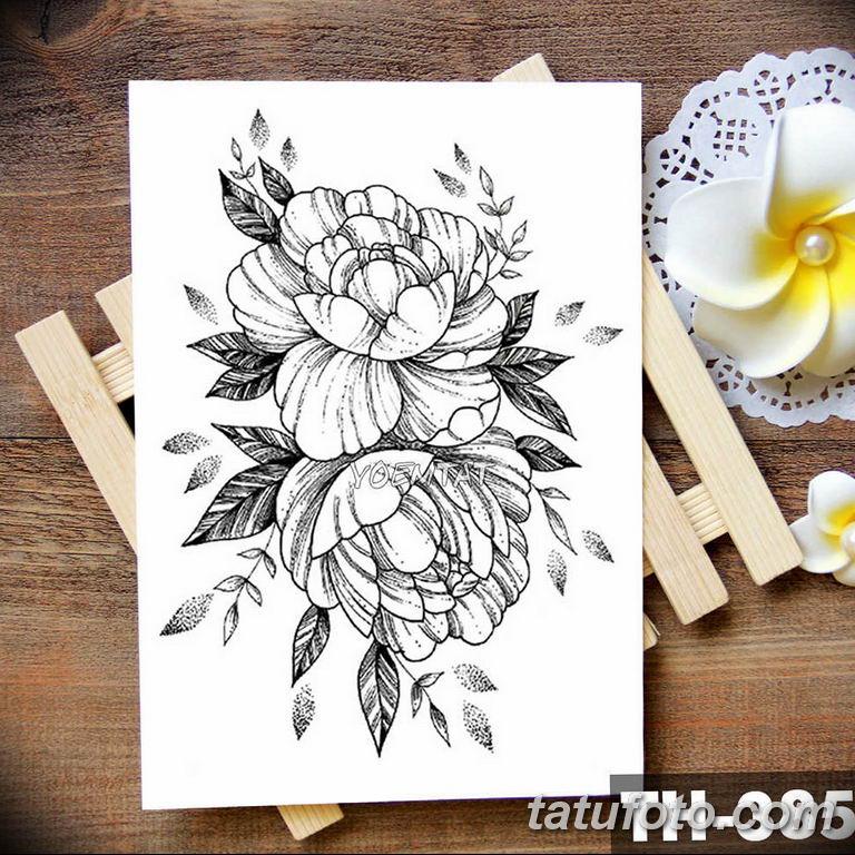 эскизы тату для девушек пионы 08.03.2019 №025 - tattoo sketches - tatufoto.com