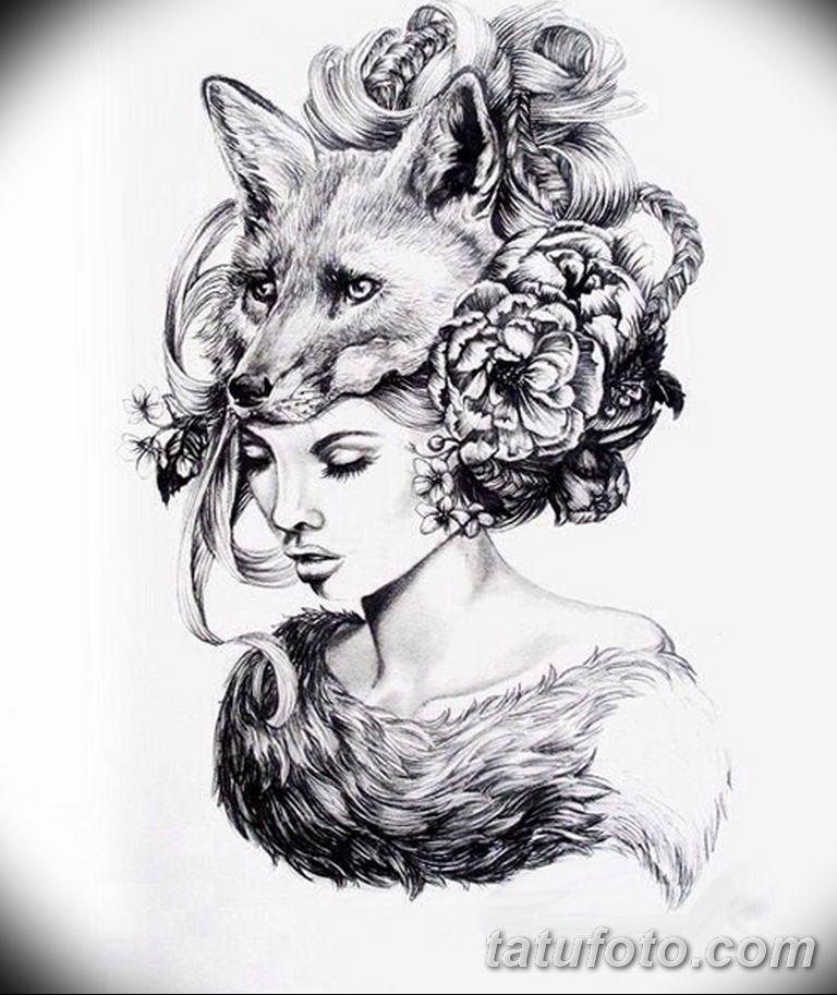 эскизы тату лисы для девушек 08.03.2019 №038 - tattoo sketches - tatufoto.com
