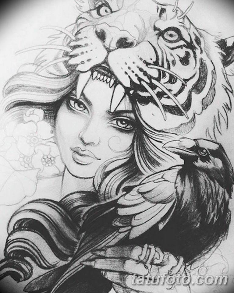 эскизы тату тигр для девушки 08.03.2019 №006 - tattoo sketches - tatufoto.com