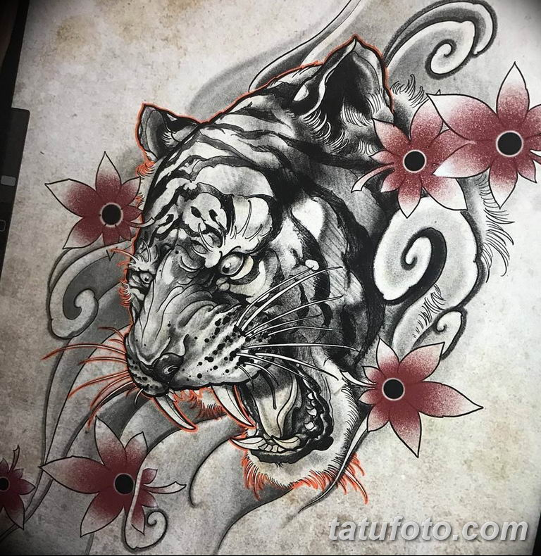 эскизы тату тигр для девушки 08.03.2019 №011 - tattoo sketches - tatufoto.com