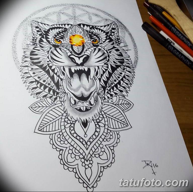 эскизы тату тигр для девушки 08.03.2019 №025 - tattoo sketches - tatufoto.com