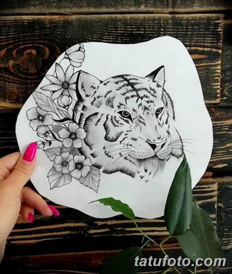 эскизы тату тигр для девушки 08.03.2019 №028 - tattoo sketches - tatufoto.com