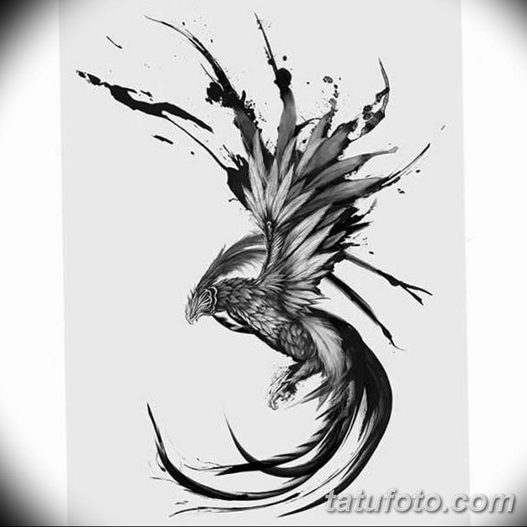 эскизы тату феникса для девушек 08.03.2019 №016 - tattoo sketches - tatufoto.com