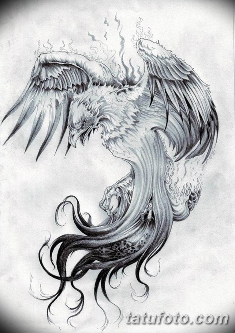 эскизы тату феникса для девушек 08.03.2019 №028 - tattoo sketches - tatufoto.com